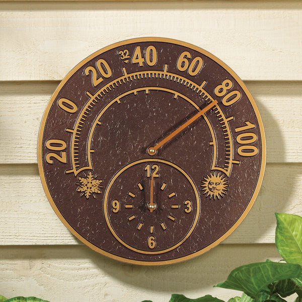 Whitehall Solstice Thermometer Clock Antique Copper