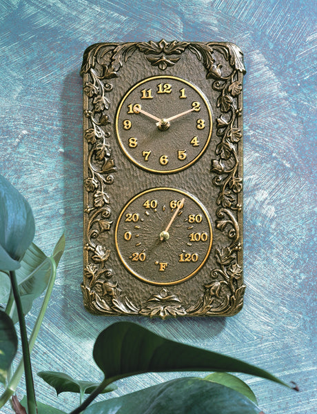 Whitehall Acanthus Thermometer Clock Combo French Bronze