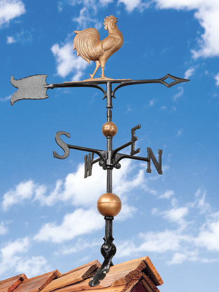 Whitehall 30 Inch Full Bodied Copper Rooster Weathervane