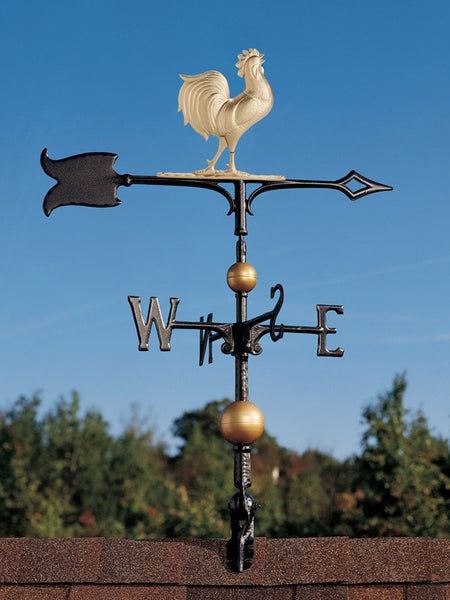 Whitehall 30 Inch Full-Bodied Rooster Weathervane Gold-Bronze