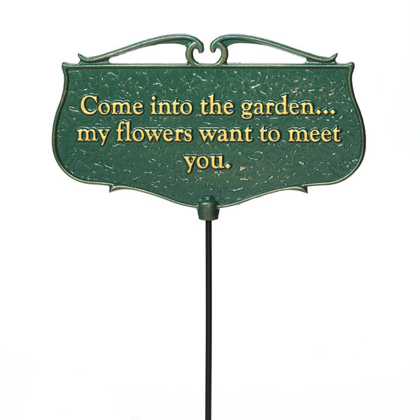 "Whitehall ""Come into the Garden..."" Garden Poem Sign"