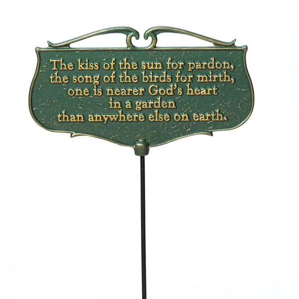 "Whitehall ""The Kiss of the Sun"" Garden Poem Sign"