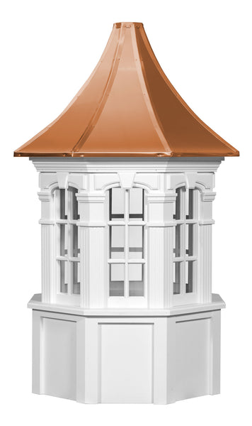 Ridge Craft Signature Series Danbury Cupola, Vinyl Body, Copper Roof, Glass Windows