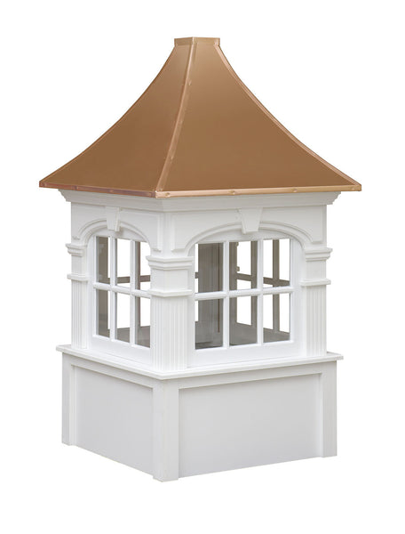 Ridge Craft Signature Series Fairfield Cupola, Vinyl Body, Copper Roof, Glass Windows