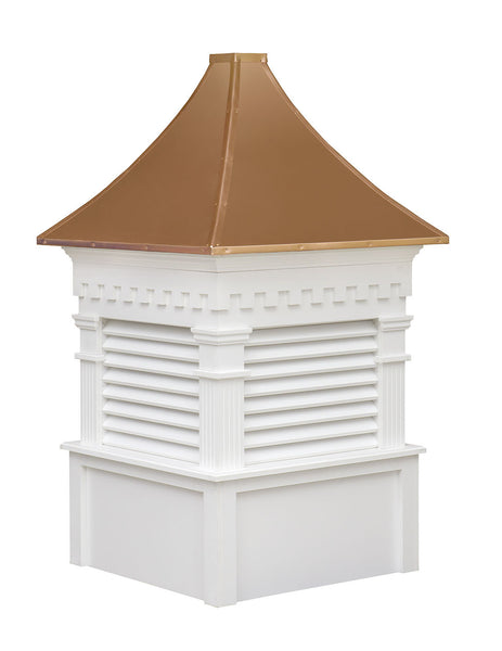 Ridge Craft Signature Series Greenfield Cupola, Vinyl Body, Copper Roof, Louvered Openings