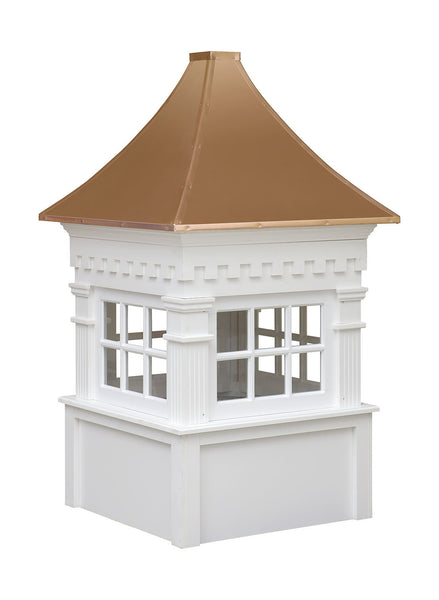 Ridge Craft Signature Series Jamesport Cupola, Vinyl Body, Copper Roof, Glass Windows