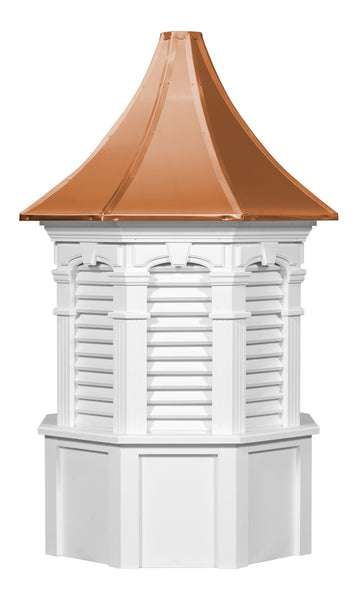 Ridge Craft Signature Series Oxford Cupola, Vinyl Body, Copper Roof, Louvered Openings