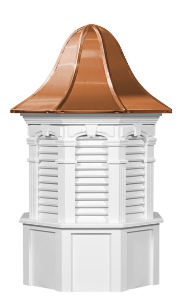 Ridge Craft Signature Series Plymouth Cupola, Vinyl Body, Copper Roof, Louvered Openings