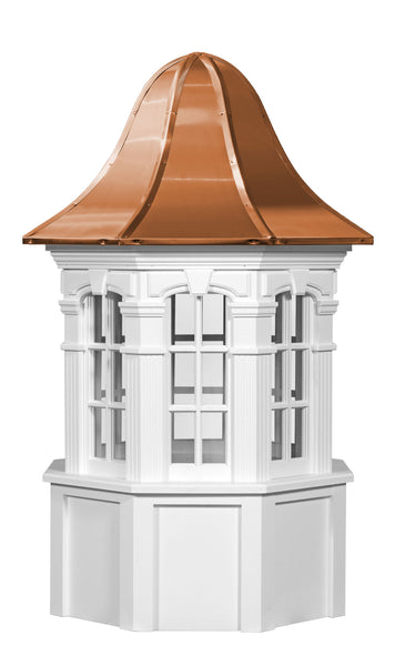 Ridge Craft Signature Series Yarmouth Cupola, Vinyl Body, Copper Roof, Glass Windows