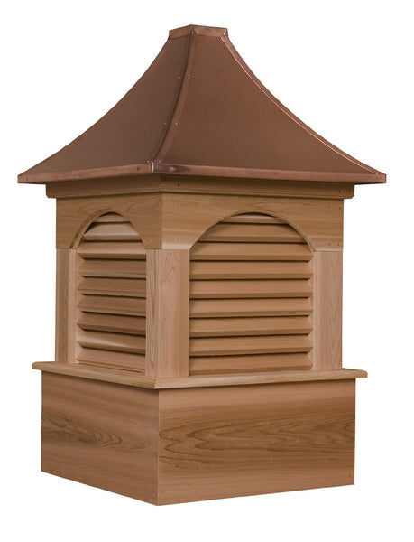 Ridge Craft Estate Series Dalton Cupola, Cedar Body, Copper Roof, Louvered Openings