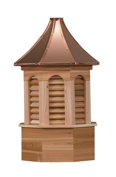 Ridge Craft Estate Series Kingston Cupola, Cedar Body, Copper Roof, Louvered Openings