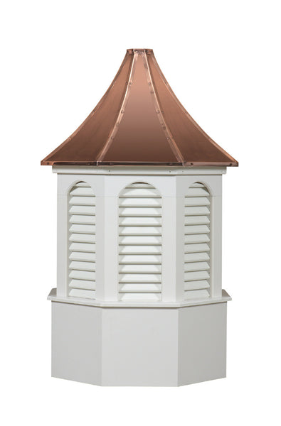 Ridge Craft Estate Series Kingston Cupola, Vinyl Body, Copper Roof, Louvered Openings