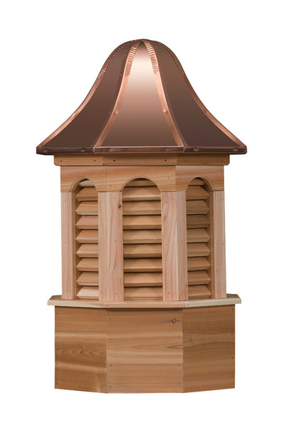Ridge Craft Estate Series Pinnacle Cupola, Cedar Body, Copper Roof, Louvered Openings