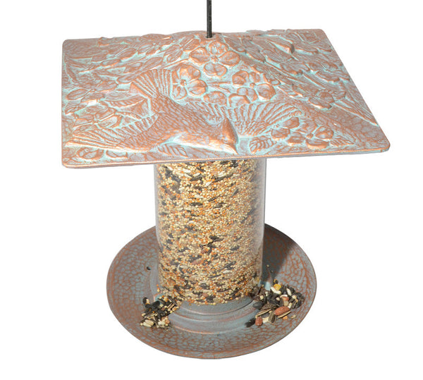 "Bird Feeder - 6"" Cardinal Tube Feeder, Copper Verdi Finish by Whitehall"