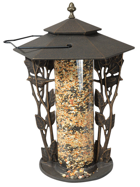 "Whitehall Chickadee Silhouette 12"" Tube Bird Feeder Oil Rubbed Bronze"