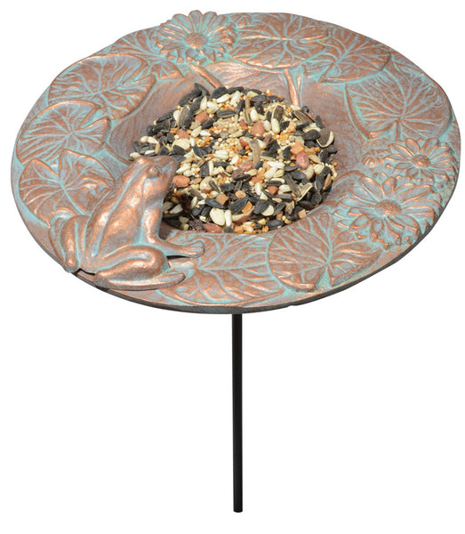 Whitehall Frog Garden Bird Feeder Copper Verdi
