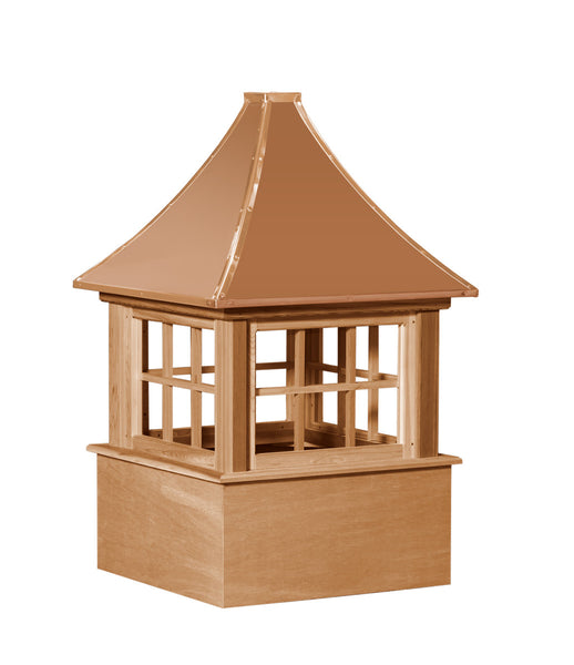 Ridge Craft Select Series Carlisle Cupola, Cedar Body, Copper Roof, Glass Windows