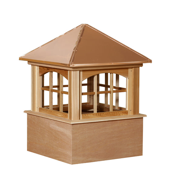 Ridge Craft Select Series Ellsworth Arch Cupola, Cedar Body, Copper Roof, Glass Windows