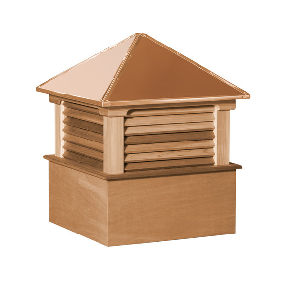 Ridge Craft Select Series Hamlin Cupola, Cedar Body, Copper Roof, Louvered Openings