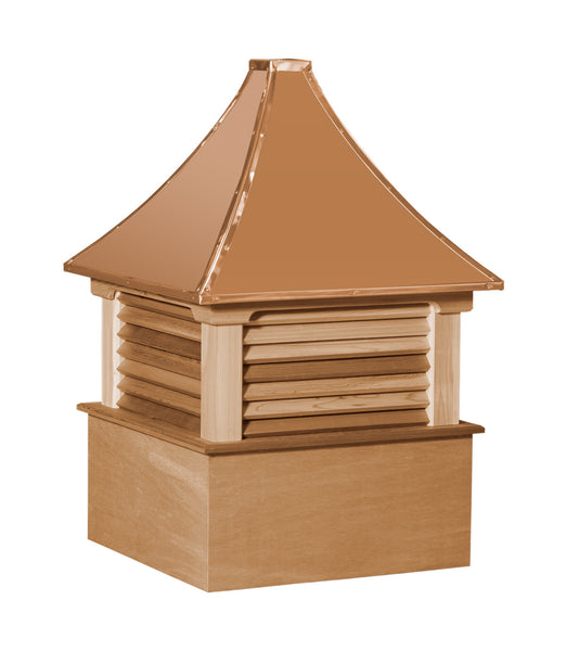 Ridge Craft Select Series Morton Cupola, Cedar Body, Copper Roof, Louvered Openings