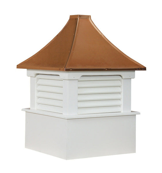 Ridge Craft Select Series Morton Cupola, Vinyl Body, Copper Roof, Louvered Openings