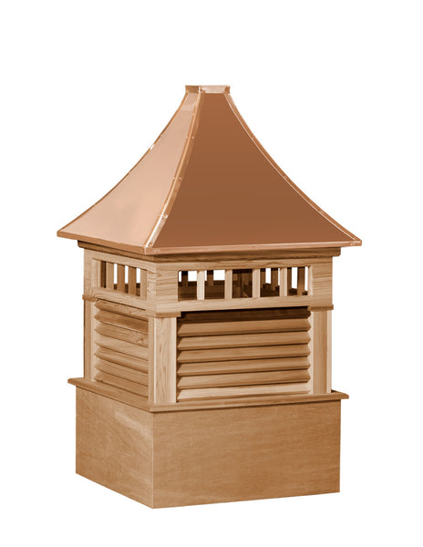 Ridge Craft Select Series Norwood Cupola, Cedar Body, Copper Roof, Louvered Openings