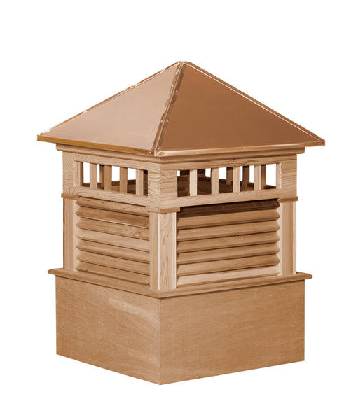 Ridge Craft Select Series Waterford Cupola, Cedar Body, Copper Roof, Louvered Openings