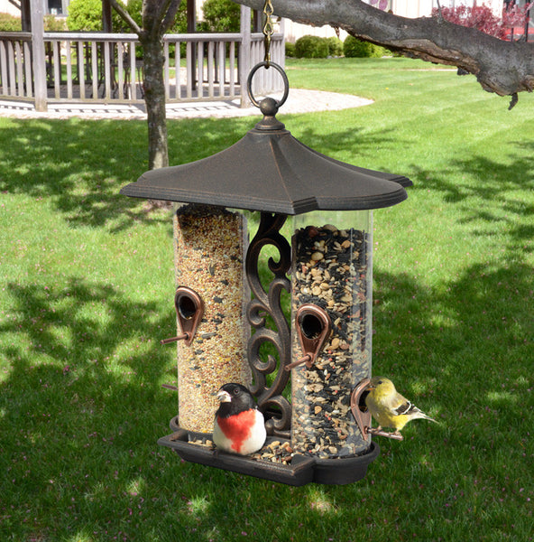 Whitehall Twin Tube Bird Feeder Oil Rub Bronze