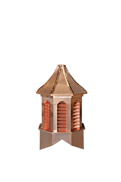 Ridge Craft Estate Copper Series Kingston Cupola, Copper Clad Body, Copper Roof, Louvered Openings