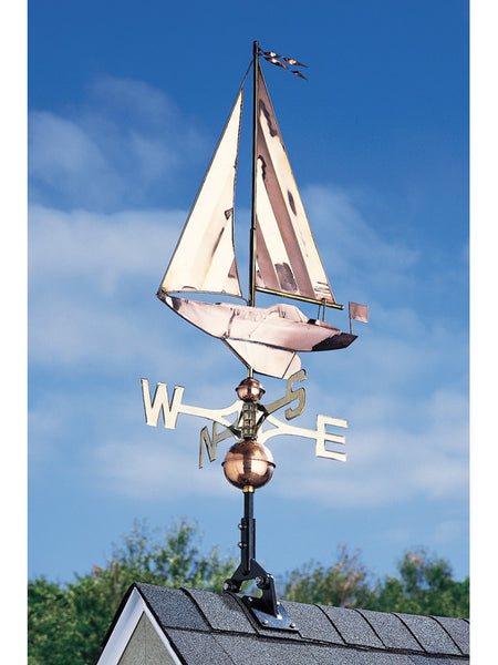 Whitehall Full-Bodied Copper Sailboat Weather Vane, Polished Finish
