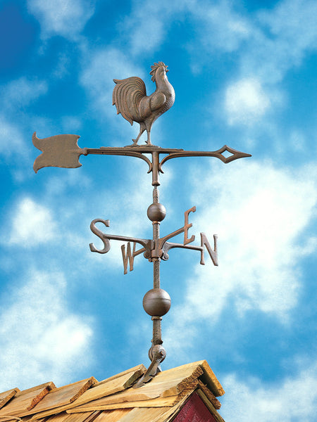 Whitehall 30 Inch Full-Bodied Rooster Weathervane Verdigris