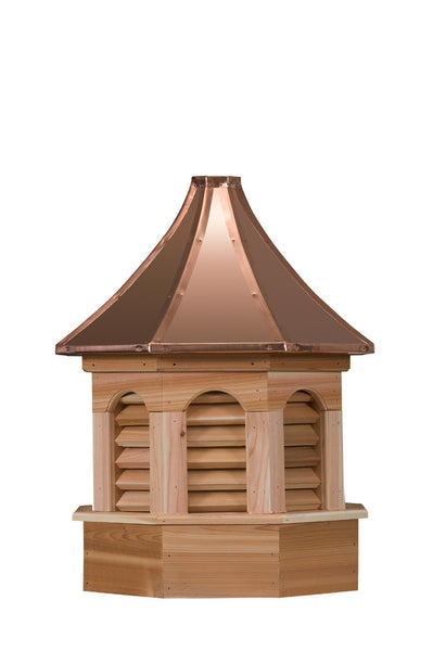 Ridge Craft Gazebo Series Kingston Estate Cupola, Cedar Body, Copper Roof, Louvered Openings