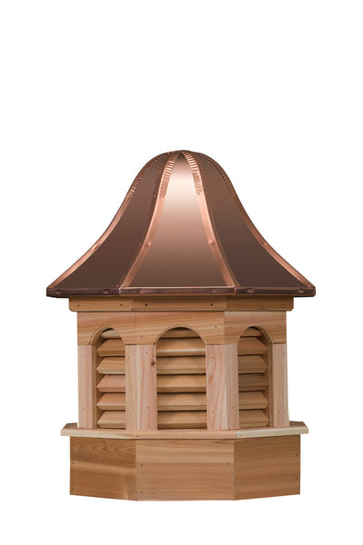 Ridge Craft Gazebo Series Pinnacle Estate Cupola, Cedar Body, Copper Roof, Louvered Openings