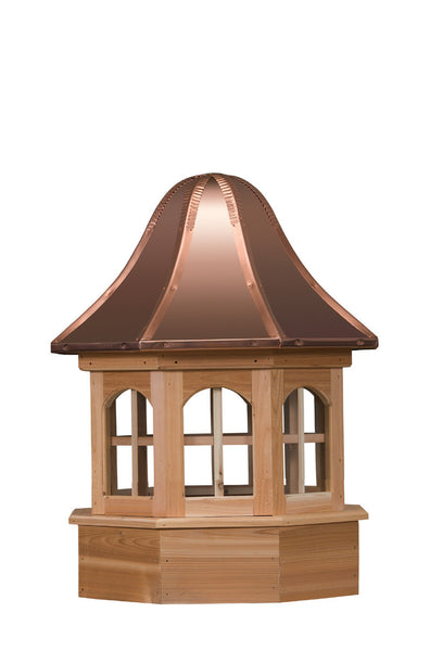 Ridge Craft Gazebo Series Villa Estate Cupola, Cedar Body, Copper Roof, Glass Windows
