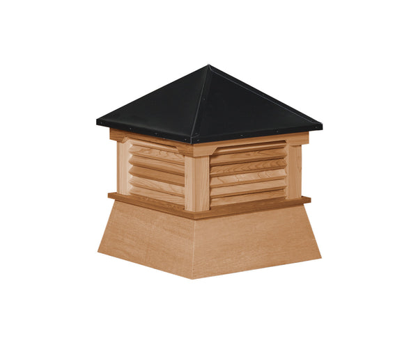 Ridge Craft Shed Cupola, Cedar, Black Pre-Painted Steel Roof