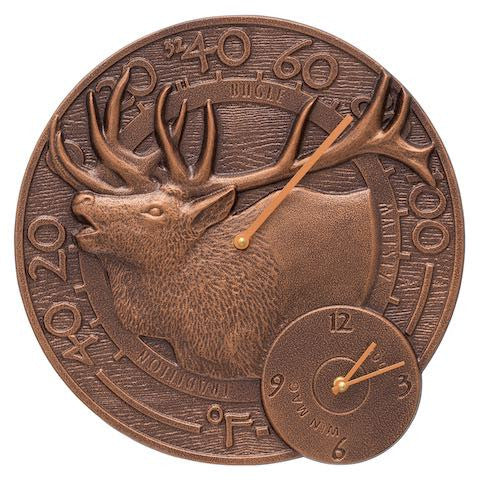 Elk Indoor Outdoor Wall Clock-Thermometer in Antique Copper