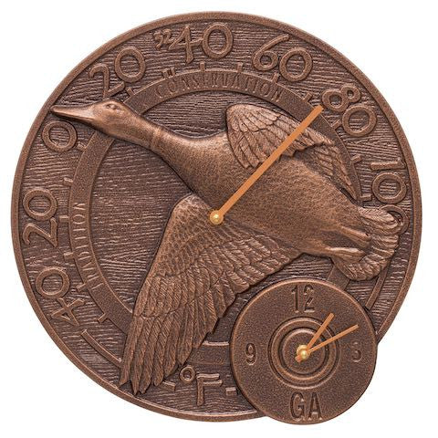 Mallard Duck Indoor Outdoor Wall Clock-Thermometer in Antique Copper