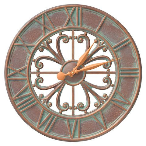 Whitehall Villanova Outdoor Wall Clock in Copper Verdigris