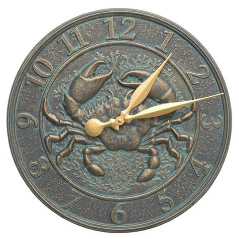 Crab Sea Life Indoor Outdoor Wall Clock in Bronze Verdigris