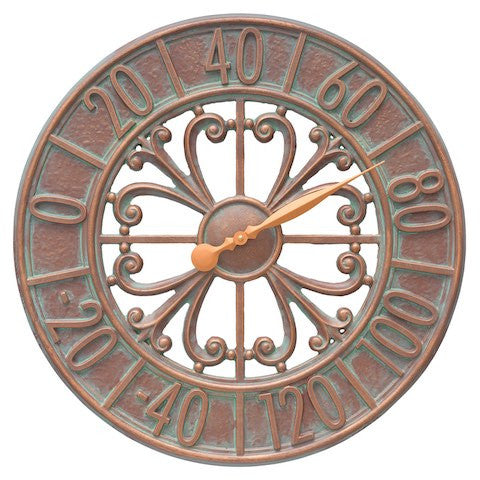 Villanova Indoor Outdoor Wall Thermometer in Copper Verdigris