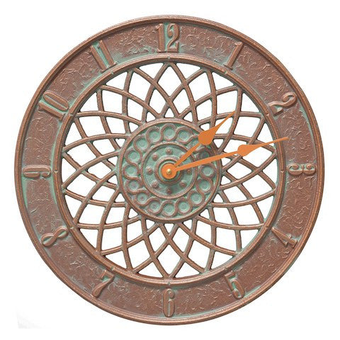 Spiral Indoor Outdoor Wall Clock in Copper Verdigris