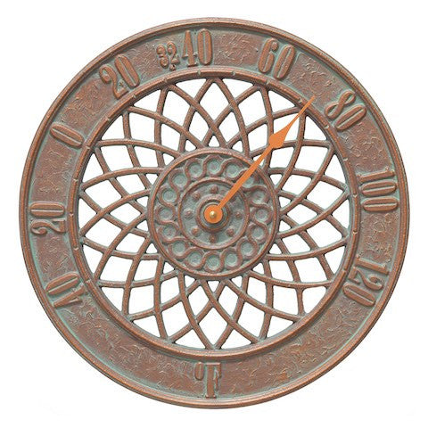 Spiral Indoor Outdoor Wall Thermometer in Copper Verdigris