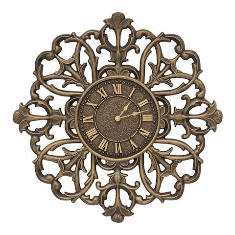 Filigree Silhouette Indoor Outdoor Wall Clock in Aged Bronze