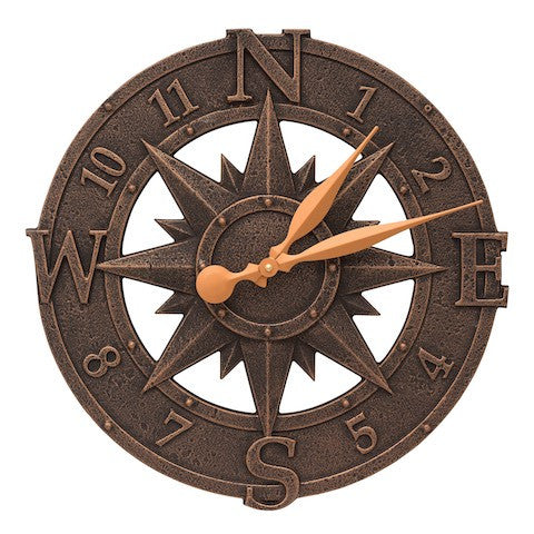 Whitehall Compass Rose Clock in Oil Rubbed Bronze