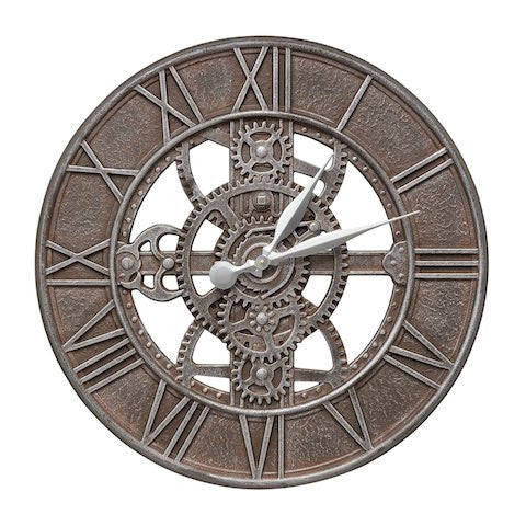 "Gear 21"" Indoor Outdoor Wall Clock in Aged Iron"
