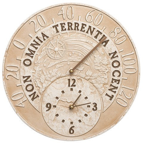 Whitehalll Fossil Celestial Thermometer Clock in Weathered Limestone