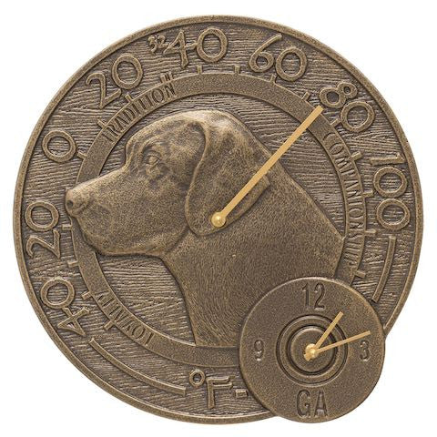Labrador Indoor Outdoor Wall Clock-Thermometer in French Bronze