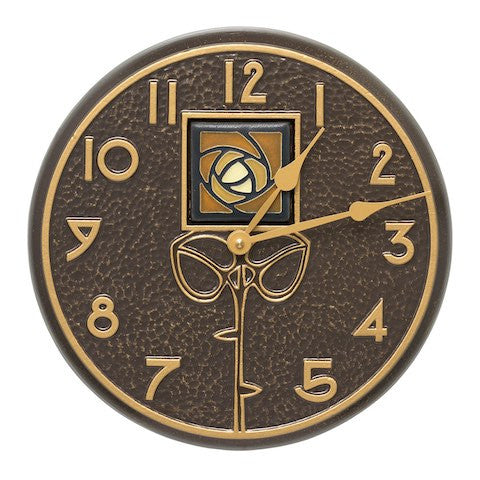 Amber Dard Hunter Rose Indoor Outdoor Wall Clock in French Bronze