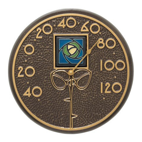 Blue Dard Hunter Rose Indoor Outdoor Wall Thermometer in French Bronze