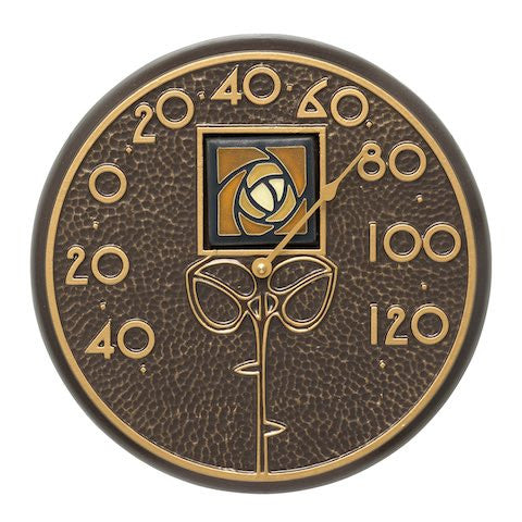 Amber Dard Hunter Rose Indoor Outdoor Wall Thermometer in French Bronze